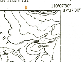 Reduced fragment of topographic map en--usgs--024k--016542--(1954)--N037-37-30_W110-15-00--N037-30-00_W110-07-30