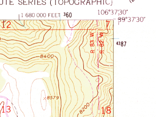 Reduced fragment of topographic map en--usgs--024k--016560--(1962)--N039-37-30_W106-45-00--N039-30-00_W106-37-30