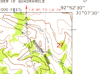 Reduced fragment of topographic map en--usgs--024k--016569--(1954)--N031-07-30_W093-00-00--N031-00-00_W092-52-30