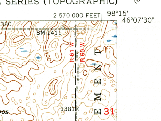 Reduced fragment of topographic map en--usgs--024k--016572--(1955)--N046-07-30_W098-22-30--N046-00-00_W098-15-00