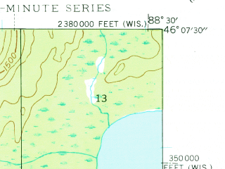Reduced fragment of topographic map en--usgs--024k--016603--(1944)--N046-07-30_W088-37-30--N046-00-00_W088-30-00; towns and cities Gaastra