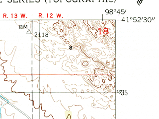 Reduced fragment of topographic map en--usgs--024k--016612--(1954)--N041-52-30_W098-52-30--N041-45-00_W098-45-00