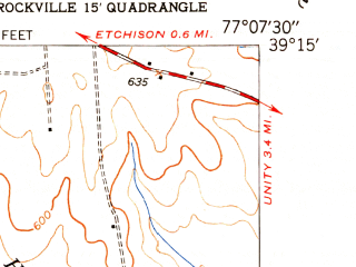 Reduced fragment of topographic map en--usgs--024k--016654--(1950)--N039-15-00_W077-15-00--N039-07-30_W077-07-30; towns and cities Gaithersburg, Montgomery Village, Redland, Laytonsville, Washington Grove