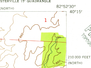 Reduced fragment of topographic map en--usgs--024k--016667--(1955)--N040-15-00_W083-00-00--N040-07-30_W082-52-30; towns and cities Galena