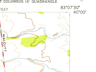 Reduced fragment of topographic map en--usgs--024k--016716--(1955)--N040-00-00_W083-15-00--N039-52-30_W083-07-30; towns and cities Lincoln Village, Lake Darby, New Rome