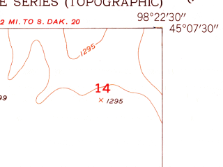 Reduced fragment of topographic map en--usgs--024k--016719--(1953)--N045-07-30_W098-30-00--N045-00-00_W098-22-30
