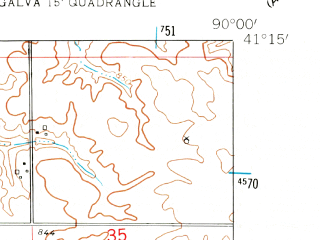 Reduced fragment of topographic map en--usgs--024k--016729--(1953)--N041-15-00_W090-07-30--N041-07-30_W090-00-00; towns and cities Bishop Hill, Galva