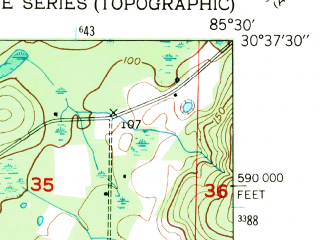 Reduced fragment of topographic map en--usgs--024k--016763--(1950)--N030-37-30_W085-37-30--N030-30-00_W085-30-00