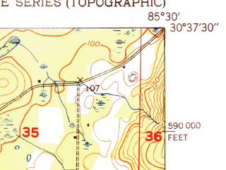 Reduced fragment of topographic map en--usgs--024k--016763--(1951)--N030-37-30_W085-37-30--N030-30-00_W085-30-00