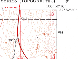 Reduced fragment of topographic map en--usgs--024k--016791--(1960)--N037-52-30_W101-00-00--N037-45-00_W100-52-30