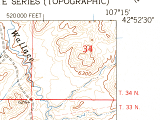 Reduced fragment of topographic map en--usgs--024k--016851--(1959)--N042-52-30_W107-22-30--N042-45-00_W107-15-00