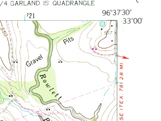 Reduced fragment of topographic map en--usgs--024k--016855--(1959)--N033-00-00_W096-45-00--N032-52-30_W096-37-30; towns and cities Garland, Richardson, Buckingham