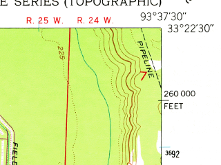 Reduced fragment of topographic map en--usgs--024k--016856--(1952)--N033-22-30_W093-45-00--N033-15-00_W093-37-30; towns and cities Garland