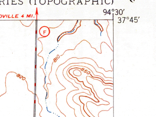Reduced fragment of topographic map en--usgs--024k--016860--(1949)--N037-45-00_W094-37-30--N037-37-30_W094-30-00; towns and cities Arcadia