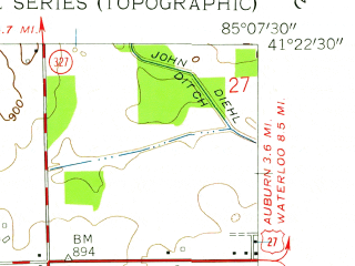Reduced fragment of topographic map en--usgs--024k--016890--(1957)--N041-22-30_W085-15-00--N041-15-00_W085-07-30; towns and cities Garrett, Altona, Avilla