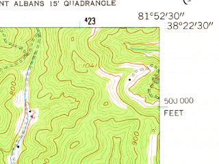Reduced fragment of topographic map en--usgs--024k--016894--(1958)--N038-22-30_W082-00-00--N038-15-00_W081-52-30