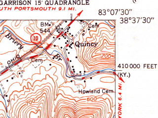 Reduced fragment of topographic map en--usgs--024k--016899--(1951)--N038-37-30_W083-15-00--N038-30-00_W083-07-30