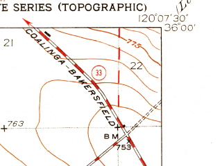 Reduced fragment of topographic map en--usgs--024k--016927--(1950)--N036-00-00_W120-15-00--N035-52-30_W120-07-30