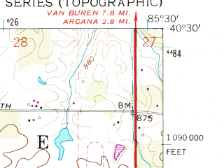 Reduced fragment of topographic map en--usgs--024k--016928--(1960)--N040-30-00_W085-37-30--N040-22-30_W085-30-00; towns and cities Gas City, Fowlerton, Upland