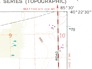 Reduced fragment of topographic map en--usgs--024k--016945--(1960)--N040-22-30_W085-37-30--N040-15-00_W085-30-00; towns and cities Gaston