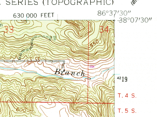 Reduced fragment of topographic map en--usgs--024k--016951--(1958)--N038-07-30_W086-45-00--N038-00-00_W086-37-30