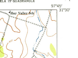 Reduced fragment of topographic map en--usgs--024k--016965--(1947)--N031-30-00_W097-52-30--N031-22-30_W097-45-00