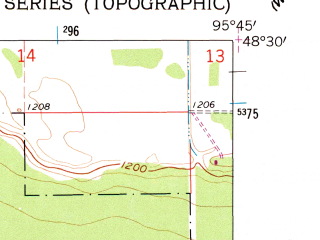 Reduced fragment of topographic map en--usgs--024k--016976--(1962)--N048-30-00_W095-52-30--N048-22-30_W095-45-00