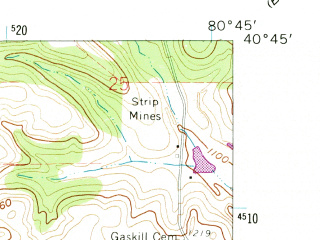 Reduced fragment of topographic map en--usgs--024k--016985--(1960)--N040-45-00_W080-52-30--N040-37-30_W080-45-00