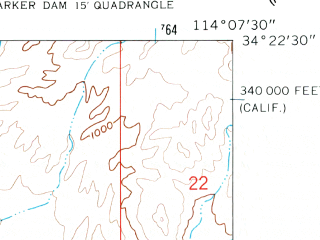 Reduced fragment of topographic map en--usgs--024k--017026--(1959)--N034-22-30_W114-15-00--N034-15-00_W114-07-30; towns and cities Parker Strip