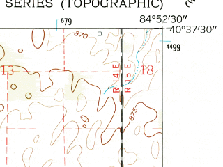 Reduced fragment of topographic map en--usgs--024k--017036--(1962)--N040-37-30_W085-00-00--N040-30-00_W084-52-30; towns and cities Bryant, Geneva