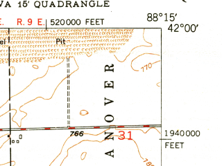 Reduced fragment of topographic map en--usgs--024k--017037--(1949)--N042-00-00_W088-22-30--N041-52-30_W088-15-00; towns and cities St. Charles, Geneva, South Elgin, Wayne