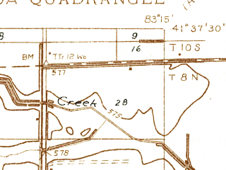Reduced fragment of topographic map en--usgs--024k--017053--(1935)--N041-37-30_W083-22-30--N041-30-00_W083-15-00; towns and cities Clay Center, Genoa