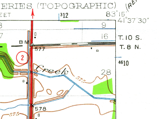Reduced fragment of topographic map en--usgs--024k--017053--(1952)--N041-37-30_W083-22-30--N041-30-00_W083-15-00; towns and cities Clay Center, Genoa