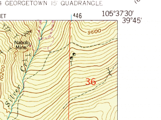 Reduced fragment of topographic map en--usgs--024k--017078--(1957)--N039-45-00_W105-45-00--N039-37-30_W105-37-30; towns and cities Georgetown, Silver Plume
