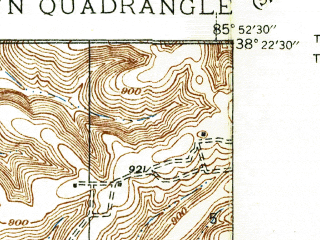 Reduced fragment of topographic map en--usgs--024k--017080--(1939)--N038-22-30_W086-00-00--N038-15-00_W085-52-30; towns and cities Galena, Georgetown, Greenville