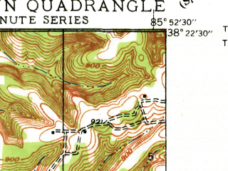 Reduced fragment of topographic map en--usgs--024k--017080--(1947)--N038-22-30_W086-00-00--N038-15-00_W085-52-30; towns and cities Galena, Georgetown, Greenville