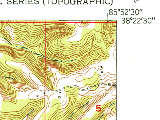 Reduced fragment of topographic map en--usgs--024k--017080--(1952)--N038-22-30_W086-00-00--N038-15-00_W085-52-30; towns and cities Galena, Georgetown, Greenville