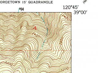 Reduced fragment of topographic map en--usgs--024k--017081--(1949)--N039-00-00_W120-52-30--N038-52-30_W120-45-00; towns and cities Foresthill