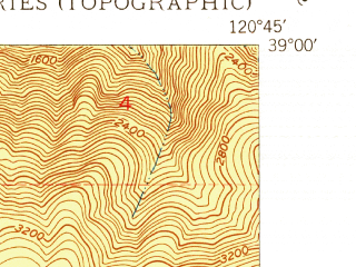 Reduced fragment of topographic map en--usgs--024k--017081--(1950)--N039-00-00_W120-52-30--N038-52-30_W120-45-00; towns and cities Foresthill