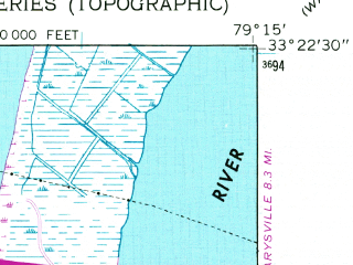 Reduced fragment of topographic map en--usgs--024k--017093--(1943)--N033-22-30_W079-22-30--N033-15-00_W079-15-00; towns and cities Georgetown