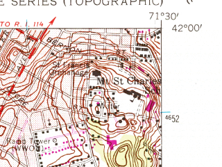 Reduced fragment of topographic map en--usgs--024k--017099--(1954)--N042-00-00_W071-37-30--N041-52-30_W071-30-00; towns and cities Woonsocket, Greenville