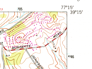Reduced fragment of topographic map en--usgs--024k--017119--(1953)--N039-15-00_W077-22-30--N039-07-30_W077-15-00; towns and cities Germantown