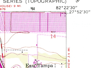 Reduced fragment of topographic map en--usgs--024k--017179--(1956)--N027-52-30_W082-30-00--N027-45-00_W082-22-30; towns and cities Apollo Beach