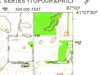 Reduced fragment of topographic map en--usgs--024k--017187--(1962)--N041-07-30_W087-07-30--N041-00-00_W087-00-00