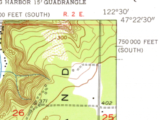 Reduced fragment of topographic map en--usgs--024k--017194--(1953)--N047-22-30_W122-37-30--N047-15-00_W122-30-00; towns and cities Gig Harbor, Ruston