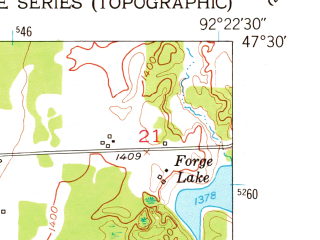 Reduced fragment of topographic map en--usgs--024k--017206--(1951)--N047-30-00_W092-30-00--N047-22-30_W092-22-30; towns and cities Gilbert