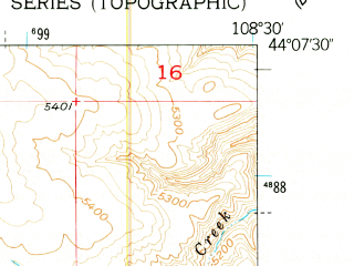 Reduced fragment of topographic map en--usgs--024k--017246--(1951)--N044-07-30_W108-37-30--N044-00-00_W108-30-00