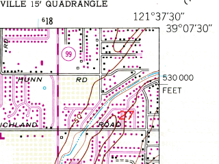 Reduced fragment of topographic map en--usgs--024k--017285--(1952)--N039-07-30_W121-45-00--N039-00-00_W121-37-30; towns and cities South Yuba City