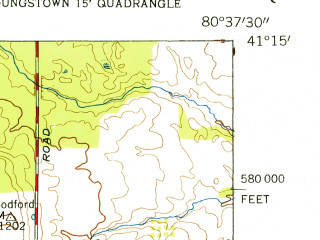 Reduced fragment of topographic map en--usgs--024k--017308--(1954)--N041-15-00_W080-45-00--N041-07-30_W080-37-30; towns and cities Girard, Mcdonald, Churchill