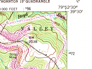 Reduced fragment of topographic map en--usgs--024k--017345--(1960)--N039-30-00_W080-00-00--N039-22-30_W079-52-30